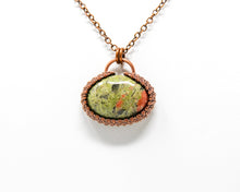 Load image into Gallery viewer, Unakite Halo Wirewrapped Pendant
