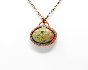 Unakite Halo Wirewrapped Pendant