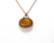 Load image into Gallery viewer, Tiger Eye Wirewrapped Halo Pendant