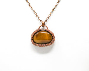 Tiger Eye Wirewrapped Halo Pendant