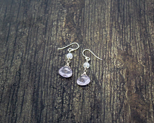 Lavender Amethyst and Moonstone Earrings