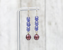Load image into Gallery viewer, Purple Crystal Sweet Pea Dangle Earrings