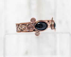 Copper and Onyx Viking Braid Wirewrapped Bracelet
