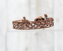 Load image into Gallery viewer, Copper and Onyx Viking Braid Wirewrapped Bracelet