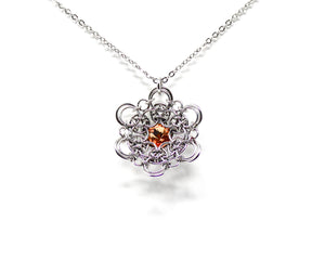 Buttercup Flower Crystal Steel Pendant