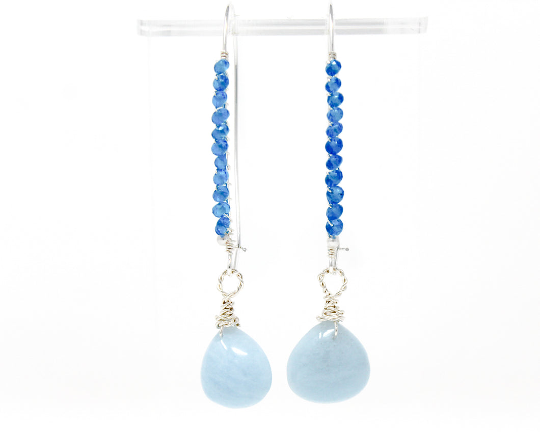 Aquamarine and Apatite Sterling Silver Earrings