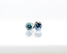 Load image into Gallery viewer, London Blue Topaz 5mm Stud Earrings