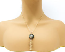 Load image into Gallery viewer, Golden Sheen Obsidian 14kt Gold Tassel Pendant