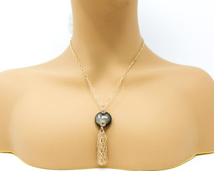 Golden Sheen Obsidian 14kt Gold Tassel Pendant
