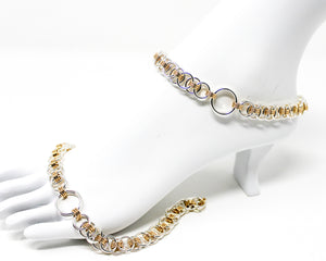 Sterling Silver and 14kt Gold Ankle Day Cuffs