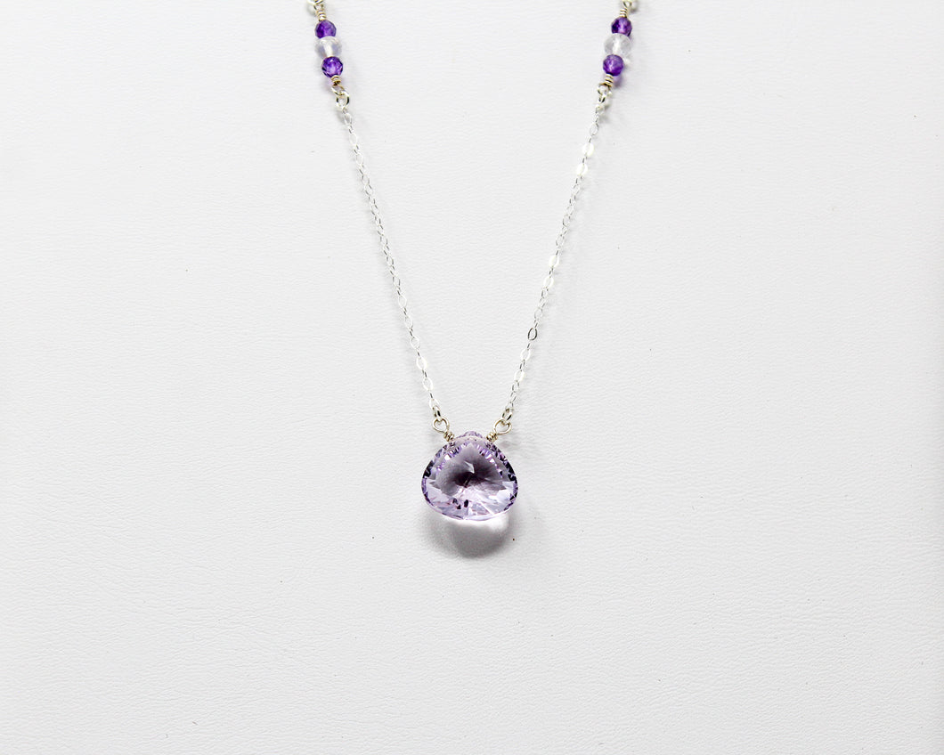 Lavender Amethyst and Moonstone Silver Necklace