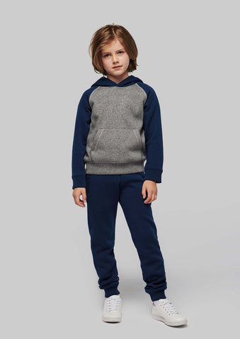 Tweekleurige sweater met capuchon kids