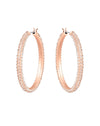 5383938 Stone Hoop Pierced Rose Tone Earrings Jewelry