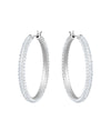 5389432 Stone Hoop Pierced White Tone Earrings Jewelry