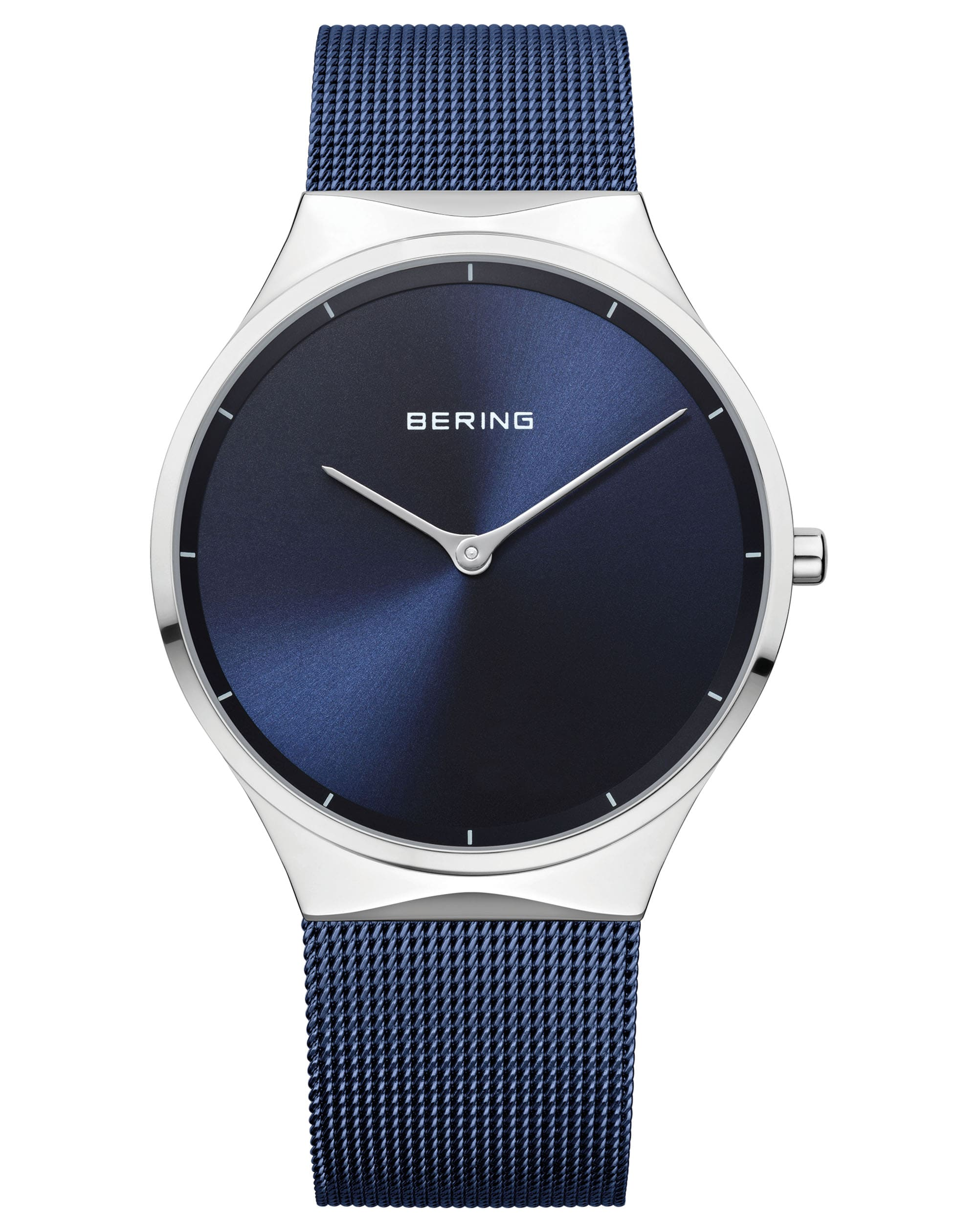 Bering Classic Stainless Steel Blue Milanese Watch 12138-307 Front View