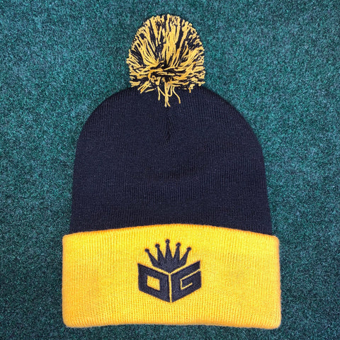 Black/Gold Pom-Pom Beanie (250 Entries)