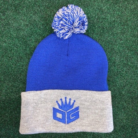 Blue/Grey Pom-Pom Beanie (250 Entries)