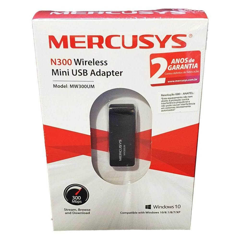 Mini Adaptador USB Wireless Mercusys 300MBPS  MW300UM - Forcetech