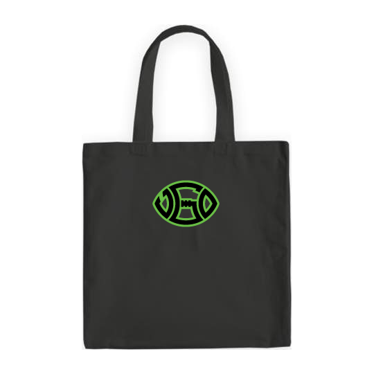 BLACK SIGNATURE LIME GREEN LOGO TOTE BAG
