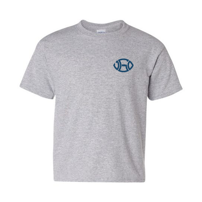 TODDLER GREY BLUE LOGO TEE - LEFT PATCH