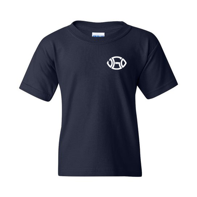 TODDLER NAVY WHITE LOGO TEE - LEFT PATCH