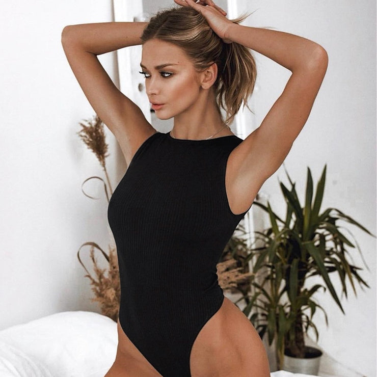 Black Sleeveless Ribbed Knitted Summer Jumpsuit