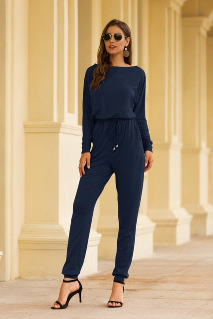 Women Long Sleeve High Waist Jumpsuit