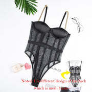 Cryptographic Black Mesh Transparent Bodysuit