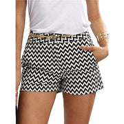 Summer Black and White Mid Waist Casual Pocket Straight Shorts