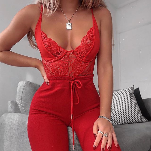 Mesh Sheer Lace V Neck Sexy Bodysuit