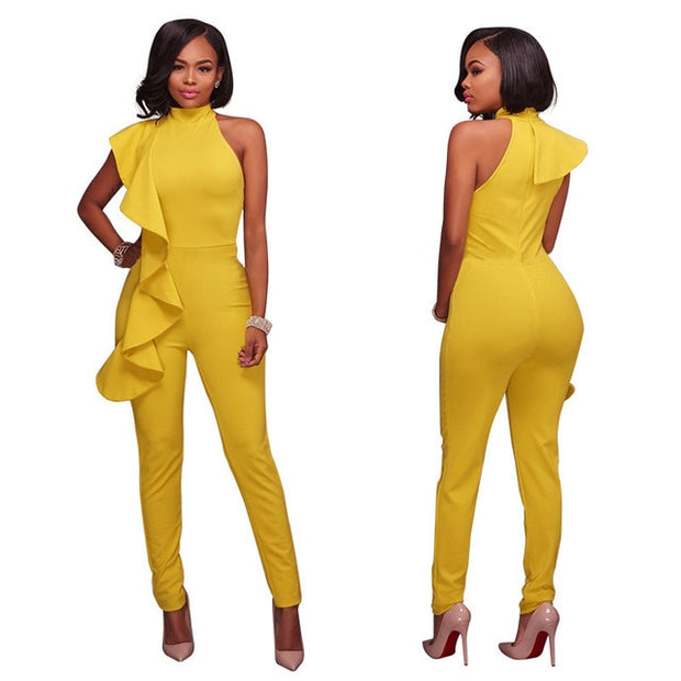 Ruffles Turtleneck  Formal Long Jumpsuit