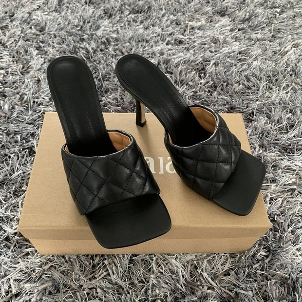 Sandals Square Toe Mules Sexy Thin High Heels