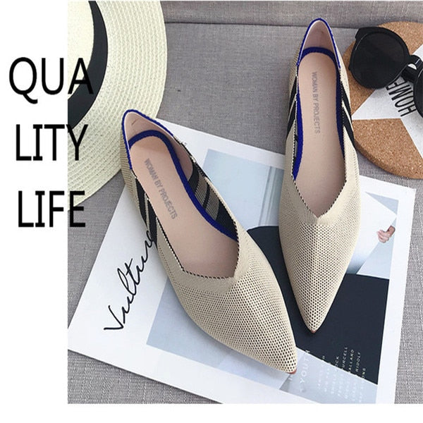Flat Shoes Ballet Shoes Breathable Knit Pointed Shoes