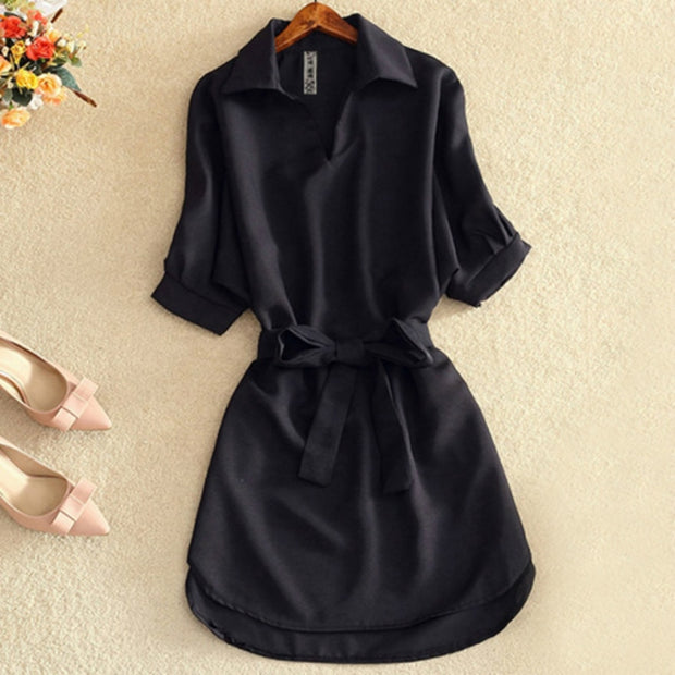 Casual Dress Fashion Office Lady Solid Red Chiffon Dresses