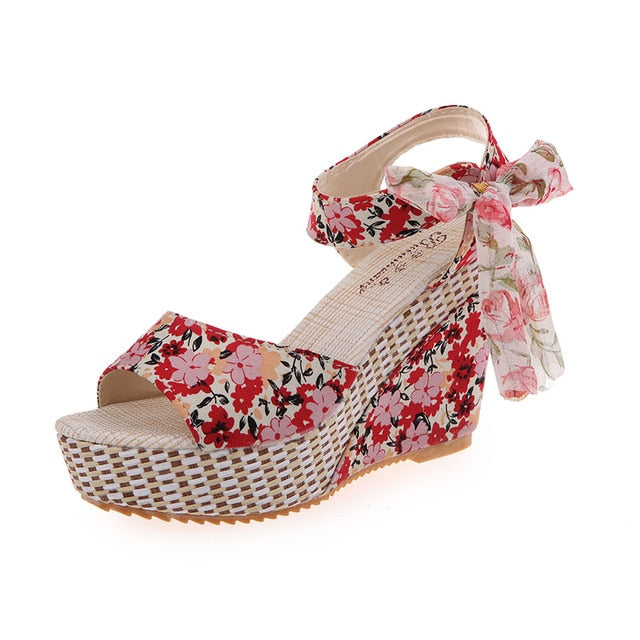 Beach Boho Floral Wedge Sandals
