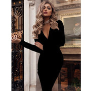 Solid Color Long Sleeve Deep V Neck Bodycon Pencil Party Dresse