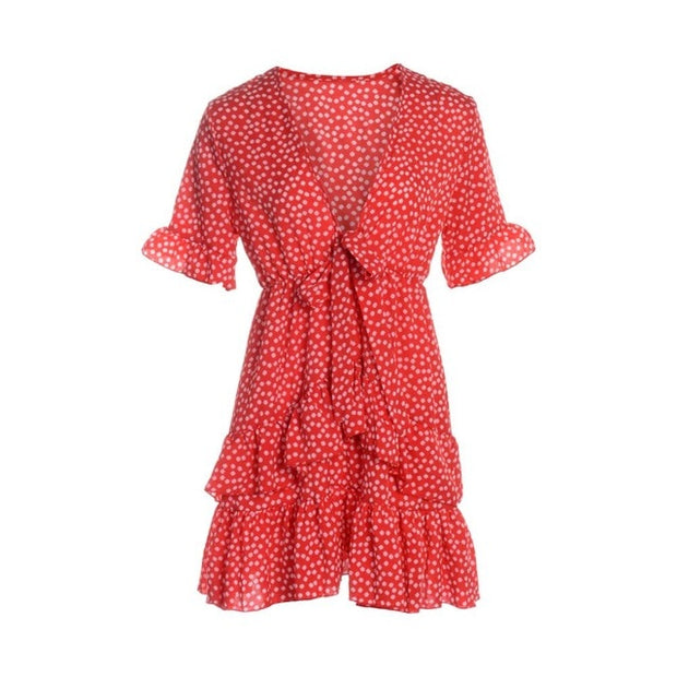 Polka Dot Boho Ruffle Mini Dress Knot V-Neck Dresses