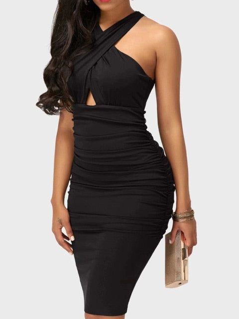 Criss-Cross Halter Midi Dress