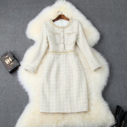 Women elegant tweed mini lurex beading tassel knitted weave dress