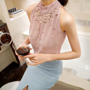 Halter Blouse Beads Chiffon Top