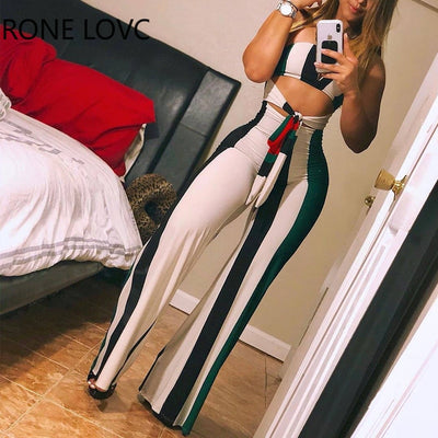 Striped Colorblock Lace up Cutout Bandeau Jumpsuit