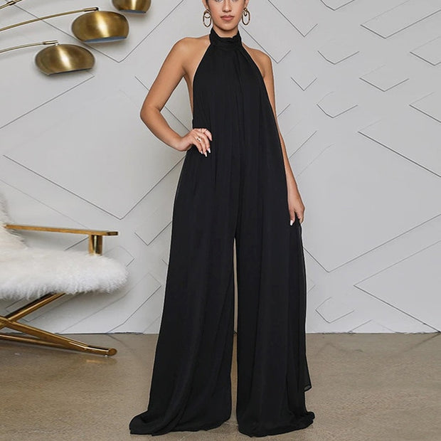 Women Chiffon Halter Backless Jumpsuit