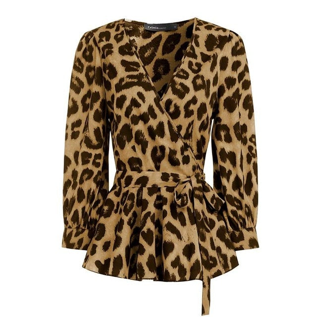 Sexy Deep V-Neck Leopard Print Belted Fashion Top