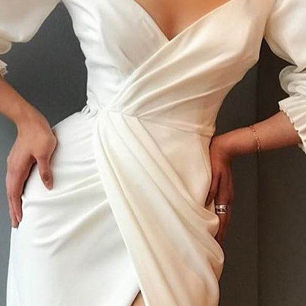 Sexy V Neck Women Wrap Dress Lantern Sleeve Slit