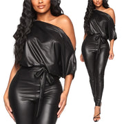 Women PU Leather Black Crew Neck Jumpsuits
