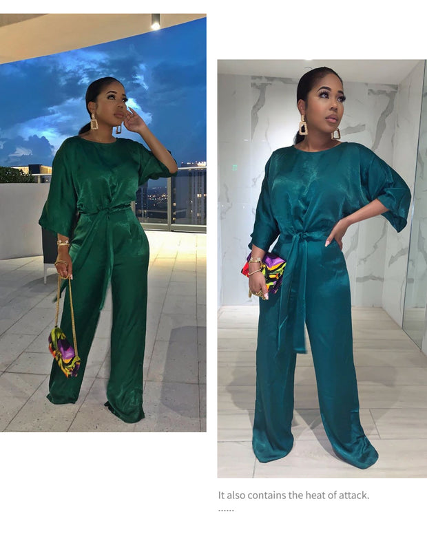 Solid Satin Elegant Half Sleeve O-neck Wide Leg Jumpsuit