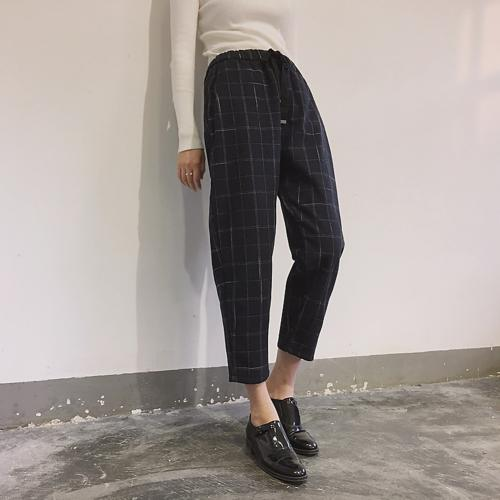 Casual Plaid Loose Waist Drawstring Harem Pants