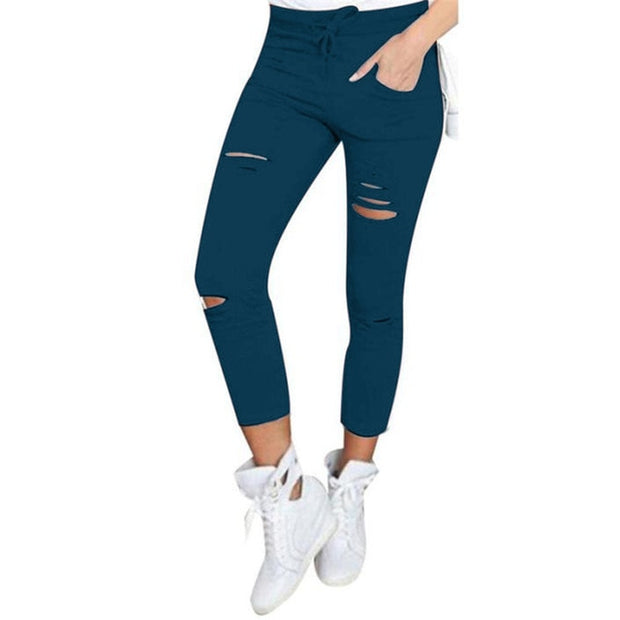 Women Fashion Slim High Waisted Stretchy Skinny Broken Hole Pencil Pants