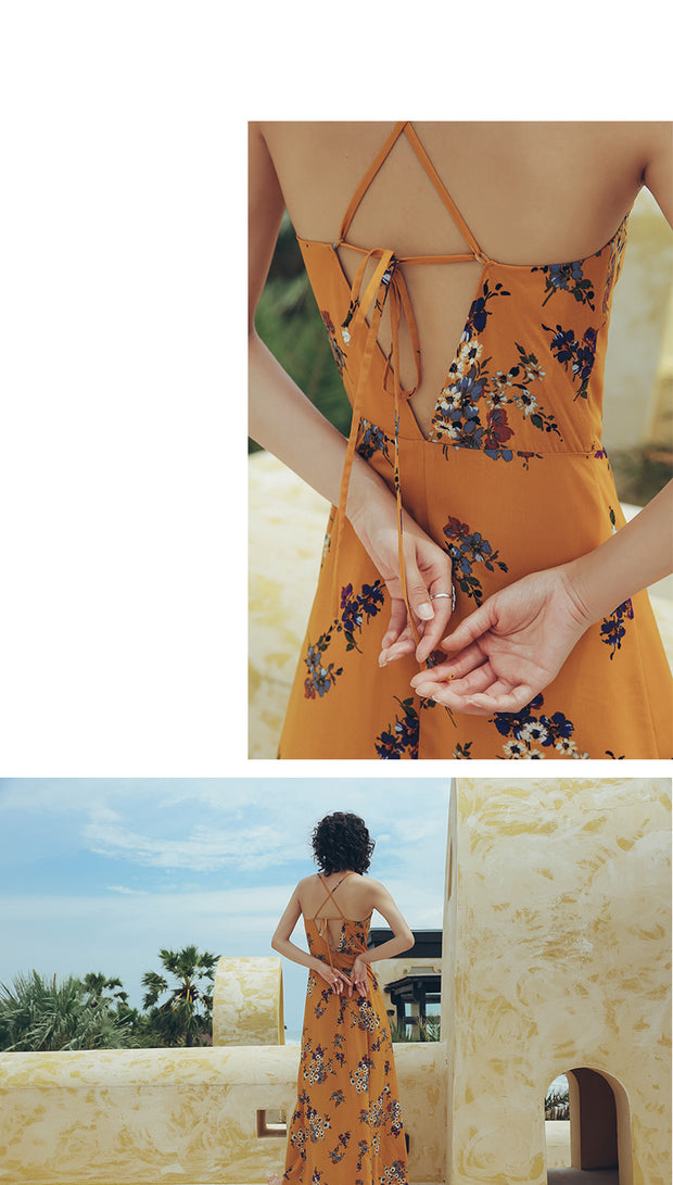 Summer Dress Women Black V-neck Strap Beach Dress Women Stripe Seaside Vacation Loose Long Dress Plus Size Elegant Dress Yellow