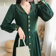 Vintage Green Long Dress  High Waist